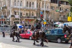 Mounted police, patrol in Jerusalem Stock Images