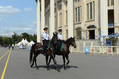 Mounted police patrol Moscow park Royalty Free Stock Photo