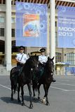 Mounted police patrol Moscow park Royalty Free Stock Image