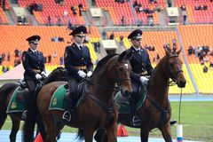 Mounted police patrol at the Moscow stadium Royalty Free Stock Image