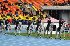 Mounted police patrol at the Moscow stadium. Royalty Free Stock Images