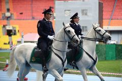 Mounted police patrol at the Moscow stadium. Royalty Free Stock Image