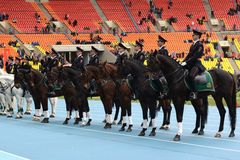 Mounted police patrol at the Moscow stadium. Royalty Free Stock Photos