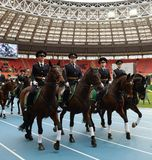 Mounted police patrol at the Moscow stadium. Royalty Free Stock Photography