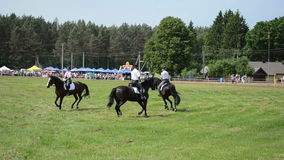 Mounted police perform. NIURONYS, LITHUANIA - JUNE 01: Mounted policeman and policewoman horse riders demonstration performance in annual horse festival show on stock video