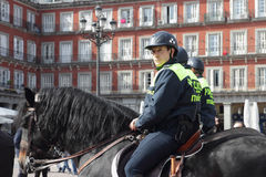 Mounted police in Plaza Mayor Stock Photo