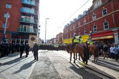 Mounted police and riot police cordon. June 8, 2013, English Defence League and United Against Fascism protest, Sheffield, UK Stock Image