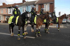 Mounted police roadblock Stock Photo