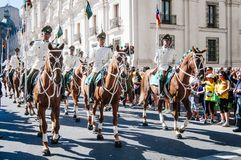 Mounted Police. Santiago, Chile. April 07, 2013. Carabineros mounted during parade in the city Royalty Free Stock Photos