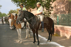 Mounted Police on  the streets in Agra Stock Photo