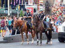 Mounted police at Times Square in New York City. NEW YORK,USA - AUGUST 14,2015 : Mounted police at Times Square in New York City Stock Photography