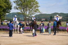 Mounted policemen  in Korea Royalty Free Stock Photography
