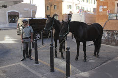 Mounted policemen in Rome Royalty Free Stock Images