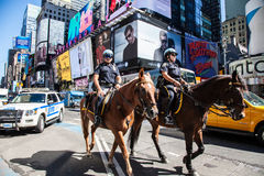 Mounted policemen on Times Square Royalty Free Stock Images