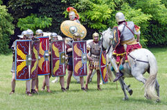 Mounted roman soldier attacking Stock Images