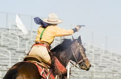 Mounted shooting 5. Mounted shooting action at the Arizona Cowboy Mounted Shooting Association 2007 southwest regional championship in Phoenix Royalty Free Stock Images