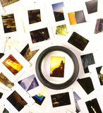 Mounted Slide Film and Loupe Sitting on The Lightbox Royalty Free Stock Photo