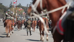 Mounted soldiers in a parade. Santiago, Chile stock video footage