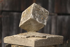 Mounted stone cube Royalty Free Stock Photos