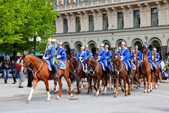 Mounted swedish Royal Guards Royalty Free Stock Photo