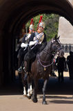 Mounted troopers of the Household Cavalry on duty at Horse Guard Royalty Free Stock Images