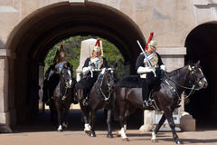 Mounted troopers of the Household Cavalry on duty at Horse Guard Royalty Free Stock Photo