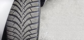 Mounted on wheel car tyre close up royalty free stock photos