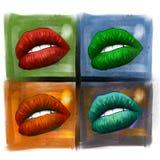Mounth atractivo de la historieta de la mujer con los labios rojos ilustración del vector