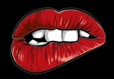 Mounth atractivo de la historieta de la mujer con los labios rojos libre illustration