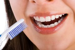 Mounth and toothbrush  3 Stock Images