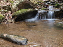 Mountian stream. Stream flowing over rocks causing waterfall Stock Image