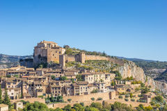 Mountian village Alquezar in the Pyrenees Stock Image