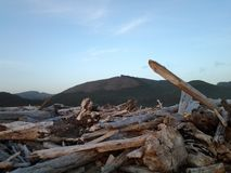 Mountians de madera de la playa Foto de archivo libre de regalías