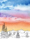 Mountin skyline panorama watercolor paint with colorful clouds royalty free illustration