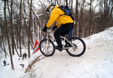 Mounting Biker - Downhill Stock Images
