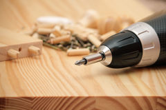 Mounting furniture with screwdriver royalty free stock photo