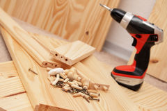 Mounting Furniture With Screwdriver Royalty Free Stock Image