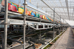 Mounting and installation of grandstand with seats for spectator Royalty Free Stock Photo