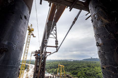 Mounting the piece of bridge. Mounting the piece of Podilskiy bridge Royalty Free Stock Images