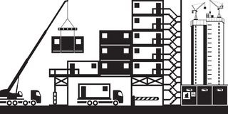 Mounting of site offices in construction Stock Images