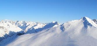 Mounting skiing resort Dombai on caucasus Royalty Free Stock Photo