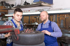 Mounting specialists in coveralls working Stock Photography
