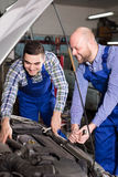 Mounting specialists in coveralls working Royalty Free Stock Photo