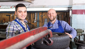 Mounting specialists in coveralls working Royalty Free Stock Photography
