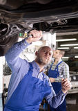 Mounting specialists in coveralls working Stock Images