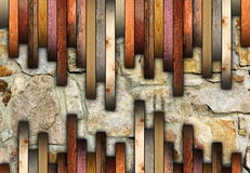 Mounting wood floor on cracked stones Royalty Free Stock Images