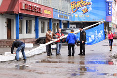 Mounting the ZEPTER advertising column. In the center of Moscow Stock Photography