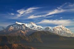 Mounts Annapurna II, IV and Lamjung Himal. Image of Mounts Annapurna II, IV and Lamjung Himal on the Dhaulagiri-Annapurna-Manaslu Himalayan Mountain Range, Nepal stock images