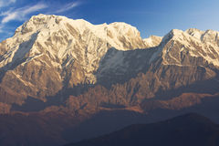 Mounts Annapurna South, Annapurna I and Hiunchuli Stock Photos