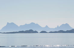 The mounts of Austvagøya early in the morning Royalty Free Stock Photos
